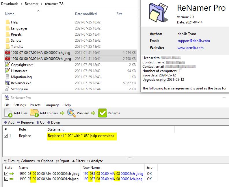 Showing Renamer output