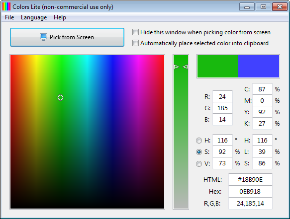 Screenshot of Colors