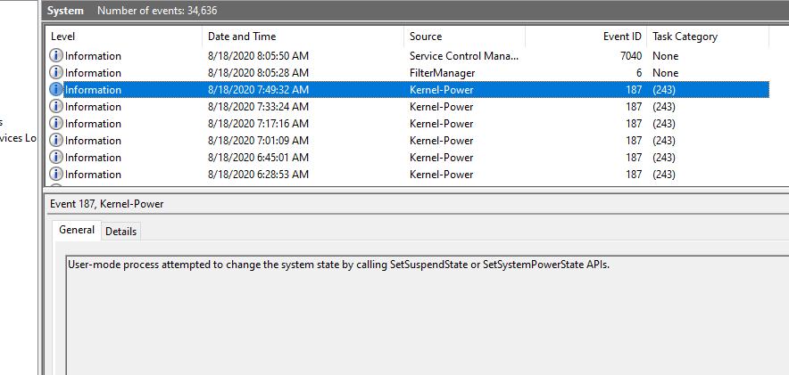 kernel power errors from shutter