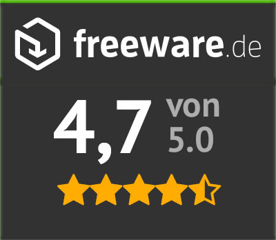 4.7 out of 5 at Freeware.de